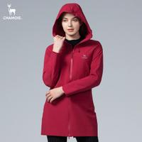【Chamois加摩仕】Damas-Tex達美斯特 防水透氣保暖連帽長版風衣外套 (酒紅色)