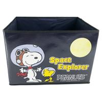 小禮堂 史努比 不織布折疊無蓋收納箱 防水收納箱 玩具箱 衣物箱 (黑 太空人)