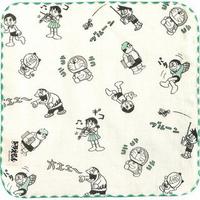 哆啦A夢 朋友 手帕(白底綠邊) 方巾 毛巾 小叮噹 日本貨 正版授權J00012621