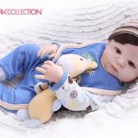 NPK Nyata 57 Cm Full Body Silikon Anak Reborn Bayi Boneka Mainan Pangeran Bayi Boneka Wig Rambut Hadiah Ulang Tahun Anak-anak brinquedos