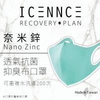 【沐水堂】ICENNCE Tiffany藍 奈米鋅透氣抗菌抑臭布口罩 (二入/袋)