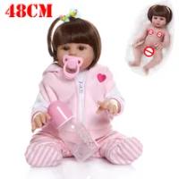 48 Cm Full Body Silikon Lembut BEBE Boneka Reborn Bayi Gadis Merah Muda Babi Gaun Set Manusia Hidup Fleksibel Boneka Bayi