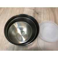 全新未拆 18/8不鏽鋼 鋼碗組 3件裝,附蓋 可套疊 安麗鋼碗組 料理盆