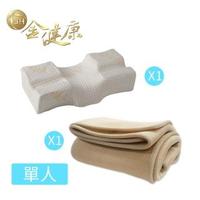 【金健康】3D伸展減壓旗艦枕+6D透氣單人床墊(日韓熱銷 高支撐 透氣佳)
