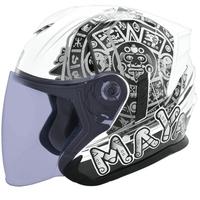 M2R FR-2 安全帽 FR2 2 瑪雅 珍珠白銀 內襯可拆 內藏墨鏡 半罩《比帽王》