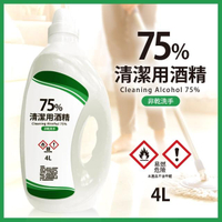 75%潔用酒精居家清潔液/大桶4L*4瓶(異丙醇/非藥用75%潔用酒精/物品清潔用非乾洗手)