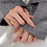 Foxanry 925เงินสเตอร์ลิง26ภาษาอังกฤษตัวอักษรแหวนผู้หญิงแฟชั่นVintageฝรั่งเศสชุบทองไม่สม่ำเสมอเครื่อ...