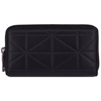 【COACH】專櫃款 紳士風 三角菱格 牛皮皮革 6卡 手機包 拉鍊中夾(經典黑)