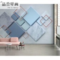免運 壁紙 5D立體電視背景墻壁紙3D幾何影視墻紙8D客廳北歐無縫壁畫大氣墻布