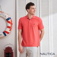 【NAUTICA】經典款素色短袖POLO衫(橘紅)