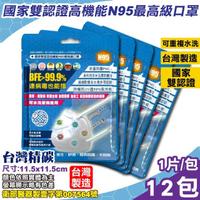 【台灣精碳】N95醫用口罩 1入X12包(國家認證 可水洗重複使用 台灣製)
