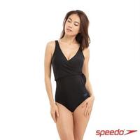 【SPEEDO】女 運動連身泳裝 Wrap(黑)