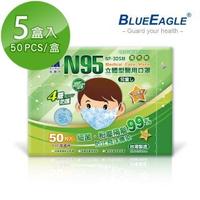 【藍鷹牌】立體型6-10歲兒童醫用口罩 50片x5盒(束帶式/藍色.綠色.粉色)