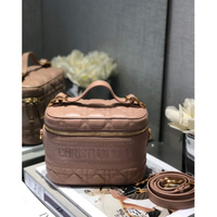 Dior Travel粉色羊皮藤格紋單肩手提化妝包 S5488UNTR_M49P