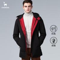【Chamois】個性雙色連帽長版羽絨外套(內紅外黑)