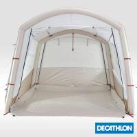 【迪卡儂】6人附天幕露營充氣客廳帳篷 QUECHUA DECATHLON(奶茶帳)
