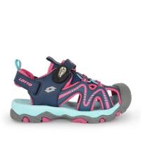 Lotto Lt1aks3383 [LT1AKS3383] 大童鞋 運動休閒 涼鞋 拖鞋 磁扣 護趾 易穿脫 深藍 粉紅
