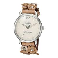 COACH【美國代購】女錶 經典雕花錶帶 銀色錶盤14502874