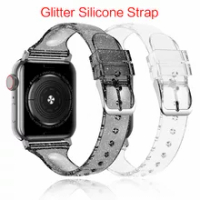 Glitter สำหรับ Apple Watch Series 6 Se 5 4 3 IWatch 38มม.42มม.ซิลิโคน Correas สร้อยข้อมือสำหรับ apple Watch Band 44มม.40มม.
