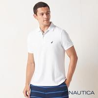 【NAUTICA】男裝 合身素色吸濕快乾短袖POLO衫(白色)