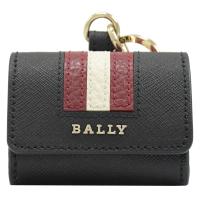 【BALLY】紅白紅條紋Airpods pro 鑰匙圈雙釦環收納套(黑)