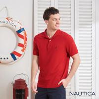 【NAUTICA】純棉簡約素色短袖POLO衫(亮紅)