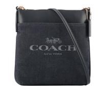 【COACH】專櫃款平滑皮革拼牛仔布口袋斜背包(深藍色)