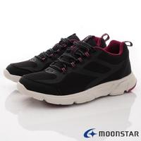 日本月星Moonstar機能女鞋老年朋友介護鞋系列3E寬楦輕量防絆倒健走鞋款056黑(女段)