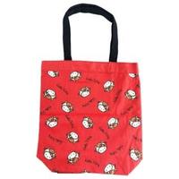 【小禮堂】Hello Kitty 直式帆布側背袋 帆布托特包 手提袋 書袋 帆布袋 《紅 牛年開運》