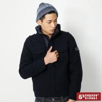 滿額送口罩 | 【5th STREET】男毛呢鋪棉長袖外套-黑藍