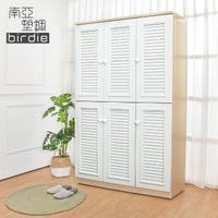 【南亞塑鋼】4尺六門塑鋼百葉高鞋櫃(白橡色+白色)