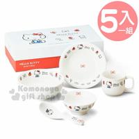 小禮堂 Hello Kitty 日製五件式陶瓷餐具組《米.倫敦》盤.碗.馬克杯.精緻盒裝.金正陶器