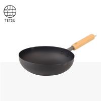 展示品日本TETSU IRON WOK木把鐵炒鍋-28公分