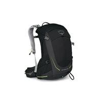 【【蘋果戶外】】Osprey Stratos 34 黑 S/M【32L】透氣立體網架健行背包 防水背包套 水袋隔間 緊急哨 雙肩背包 超輕量抗撕裂尼龍布料