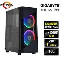 【NVIDIA】R5六核{魔焰神衛}GTX1050Ti獨顯電玩機(R5-5600X/技嘉B550/16G/2T/1TB_SSD/GTX1050Ti-4G)