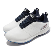 【SKECHERS】高爾夫球鞋 Go Golf PRO 4 男鞋 緩衝 緩震 防水 皮革鞋面 輕巧 靈敏 白 藍(214001-WNV)