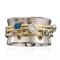 Huitanแฟชั่นแหวนผู้หญิงทองสีเอวสายเรขาคณิตCZหินบุคลิกภาพสาวแหวน