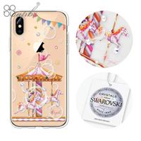 【apbs】iPhone XS / iPhone X 5.8吋施華彩鑽防震雙料手機殼(旋轉夢幻)