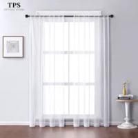 TPS สีขาวผ้าม่านหน้าต่าง Tulle สำหรับห้องนั่งเล่นห้องนอนห้องครัวสำเร็จรูปหน้าต่างตกแต่งบ้านแผ...