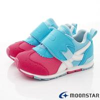 ★日本月星Moonstar機能童鞋-HI系列緩衝款22554粉藍(中小童段)