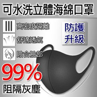 【Saikoyen】可水洗立體海棉口罩1組4入(防塵口罩 防曬 口罩 立體口罩 防霧霾 防霧氣 3D口罩)