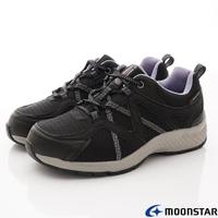 日本月星Moonstar機能女鞋防水防滑系列4E寬楦抗菌透氣健走鞋款1716黑(女段)