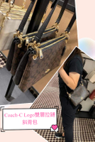 美國正品COACH 經典限量款F76646-深咖拚黑皮色、素黑色(大號全皮) 雙層拉鏈 立體C Logo  斜背包 -- (保證美國Outlet 直購100%正品專櫃購入) -*vivi shop*