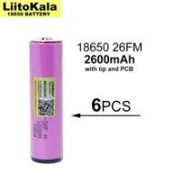 6PCS Liitokala 3.7V/4.2V 18650 2600mAh ICR18650-26FM Rechargeable Lithium Battery PCB Protection Board for Flashlight