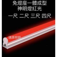 LED 神明燈 T5層板燈 1尺 2尺 3尺 4尺  支架燈 串接燈【紅光】