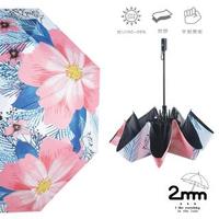 【2mm】100%遮光 京都花典黑膠降溫手開傘(茶梅花)