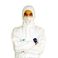【極雪行者】DP01美國杜邦Tyvek實驗室專業全白限次防護衣(防疫氣融膠/醫療院所/機場/食品廠/無塵室)