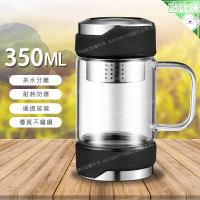 【歐比康】350ML不鏽鋼蓋帶茶漏玻璃杯 不鏽鋼濾網耐熱玻璃茶杯 玻璃杯 茶杯 環保杯 不銹鋼 304 316