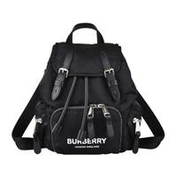 【BURBERRY 巴寶莉】BURBERRY THE RUCKSCK白字印花LOGO帆布束口後背包(小/黑)