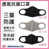 【可水洗使用約200次】ICENNCE 奈米鋅抗菌防護薄口罩 成人/兒童 台灣製 三層口罩 3D口罩 立體口罩 規格任選